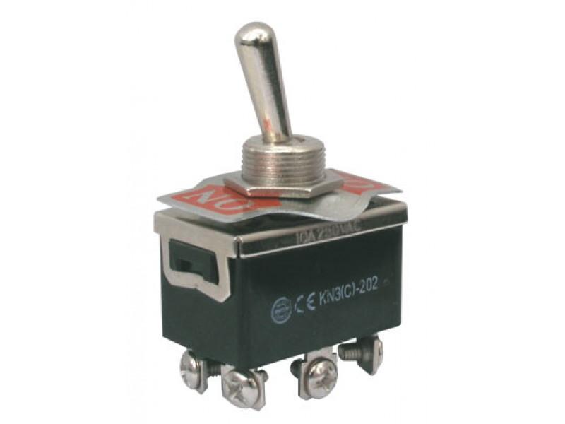 Prepínač páčkový 2pol./6pin ON-ON 250V/10A šroub.