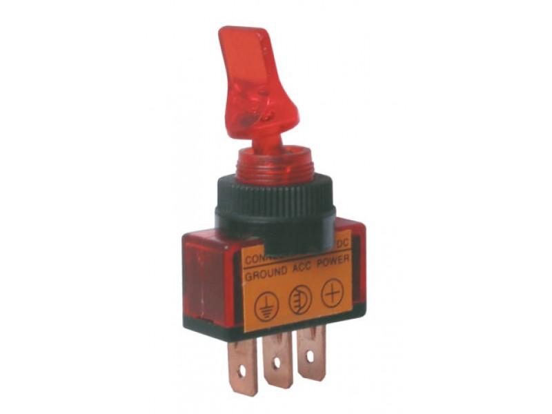 Prepínač páčkový 2pol./3pin ON-OFF 12VDC prosv. červený