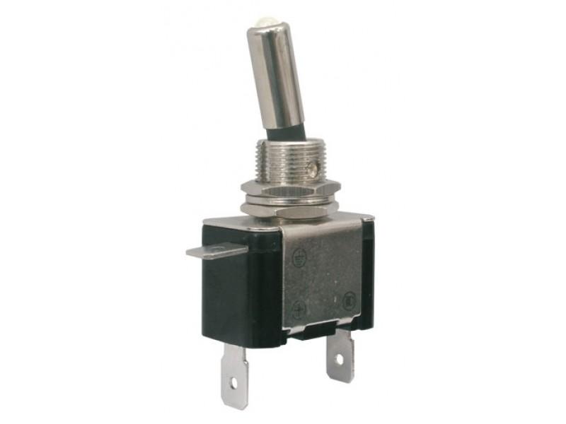 Prepínač páčkový 2pol./2pin ON-OFF 12VDC/25A LED biela