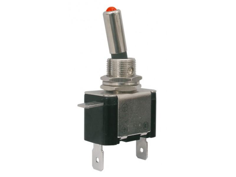 Prepínač páčkový 2pol./2pin ON-OFF 12VDC/25A LED červená