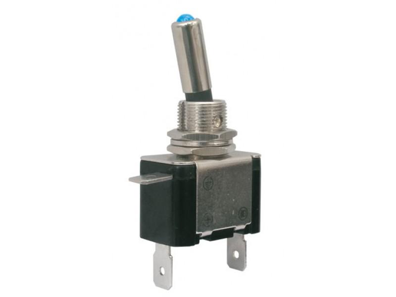 Prepínač páčkový 2pol./2pin ON-OFF 12VDC/25A LED modrá