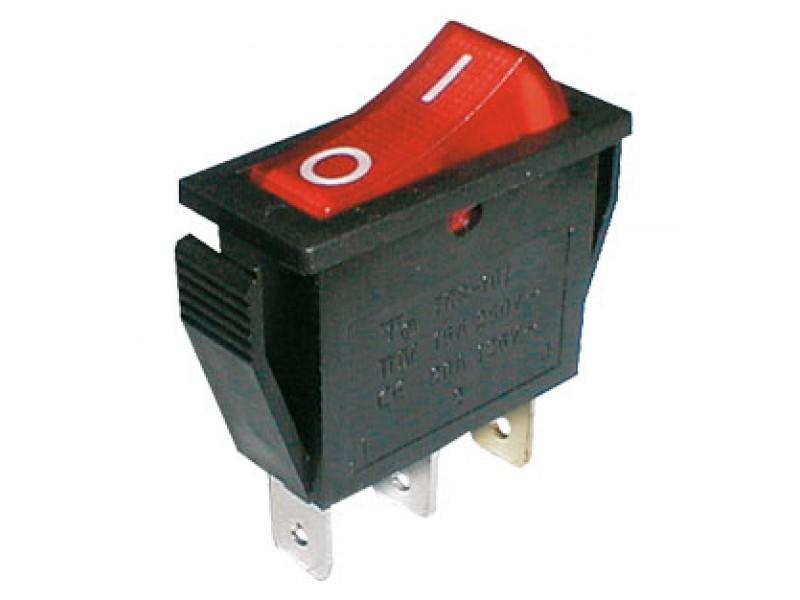 Prepínač kolískový 2pol./3pin ON-OFF 250V/15A pros. červený