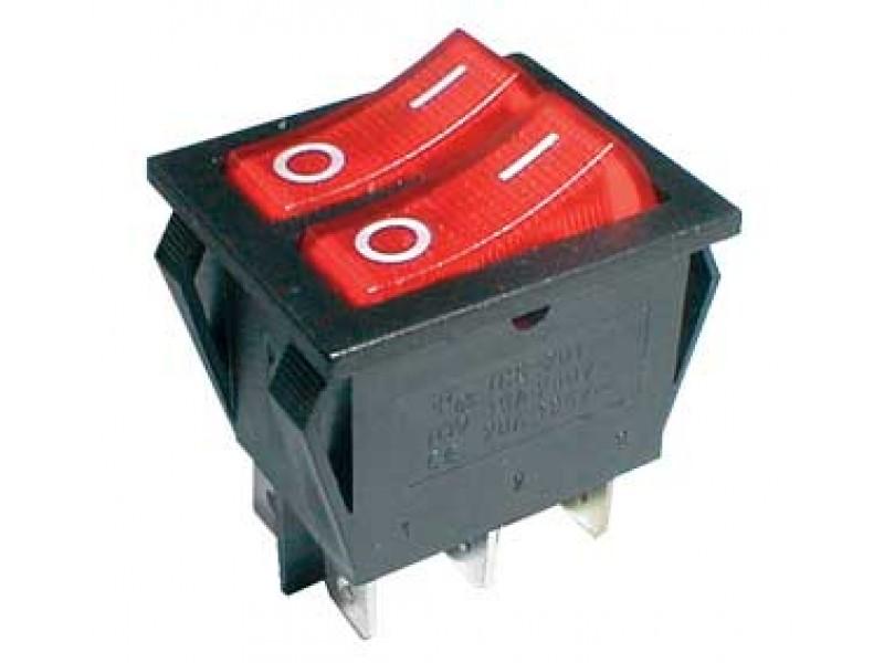 Prepínač kolískový 2x(2pol./3pin) ON-OFF 250V/15A pros. červený