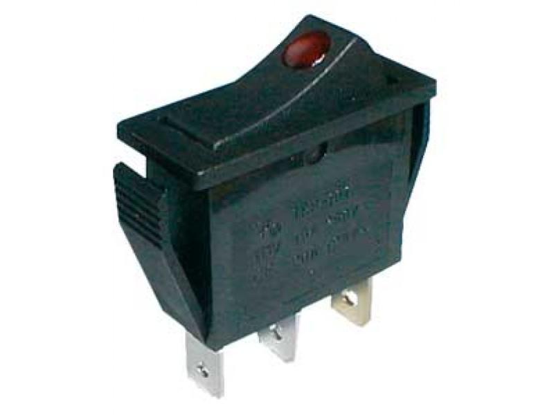 Prepínač kolískový 2pol./3pin ON-OFF 250V/15A prosv. bod R