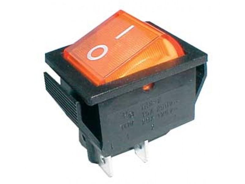 Prepínač kolískový 2pol./4pin ON-OFF 250V/15A pros. žltý