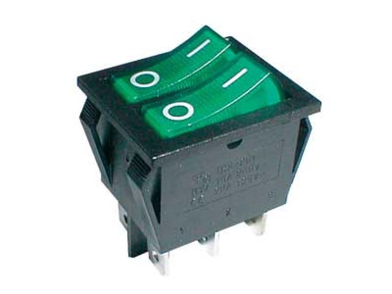 Prepínač kolískový 2x(2pol./3pin) ON-OFF 250V/15A pros. zelený