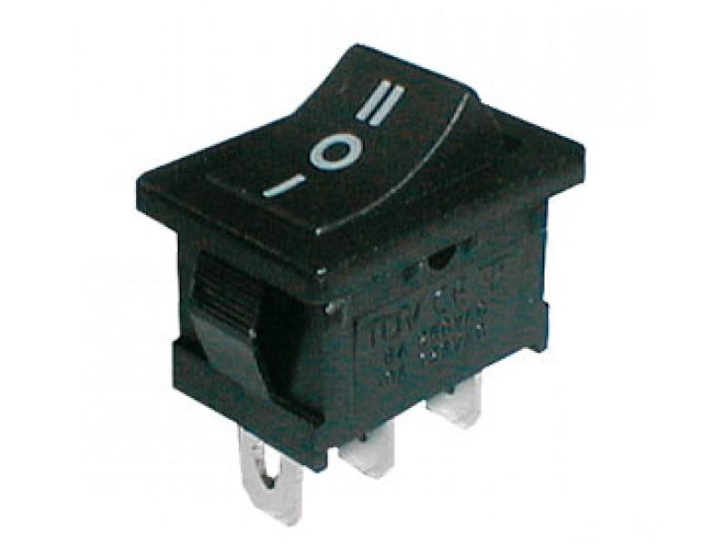 Prepínač kolískový 3pol./3pin ON-OFF-ON 250V/6A čierny