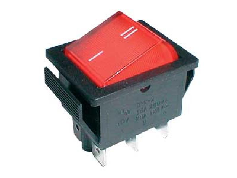 Prepínač kolískový 2pol./6pin ON-ON 250V/15A červený