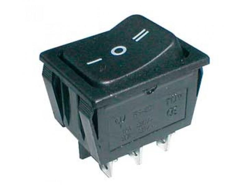 Prepínač kolískový 3pol./6pin ON-OFF-ON 250V/15A čierny