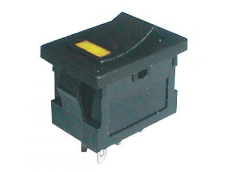 Prepínač kolískový 2pol./4pin ON-OFF 250V/3A LED žltý