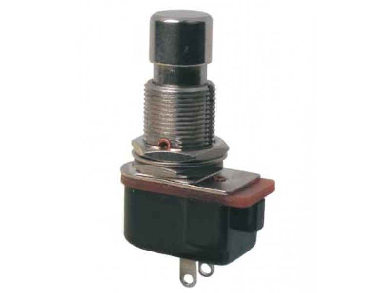 Prepínač tlačidlo okrúhle ON-(OFF) 12V kov