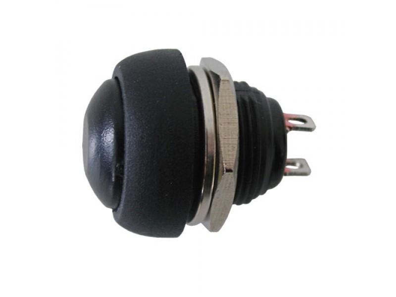Prepínač tlačidlo okrúhle OFF-(ON) stred. čierne