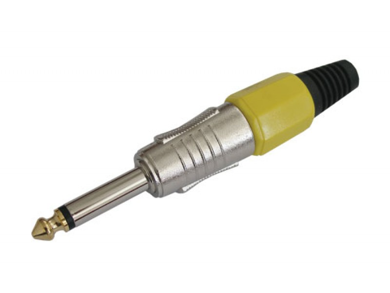 Konektor Jack 6.3 mono kov HQ žltý