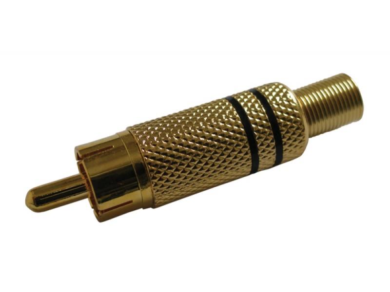 Konektor CINCH kábel kov zlatý čierny