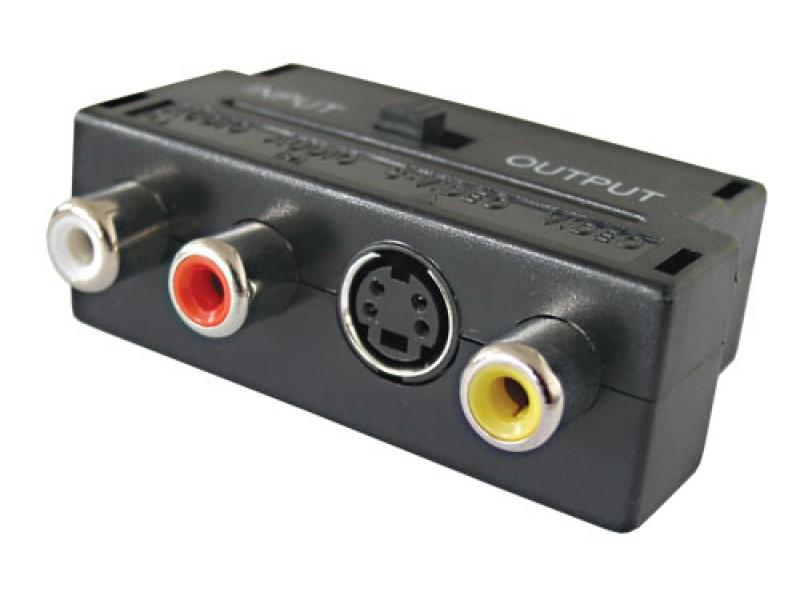 Redukcia Scart konektor/ 3 x CINCH zdierka + SVHS + prepínač IN/OUT D922