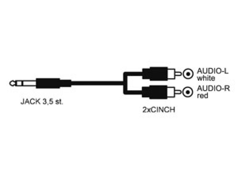 Kábel HADEX JACK 3.5 stereo/2xCINCH 10m