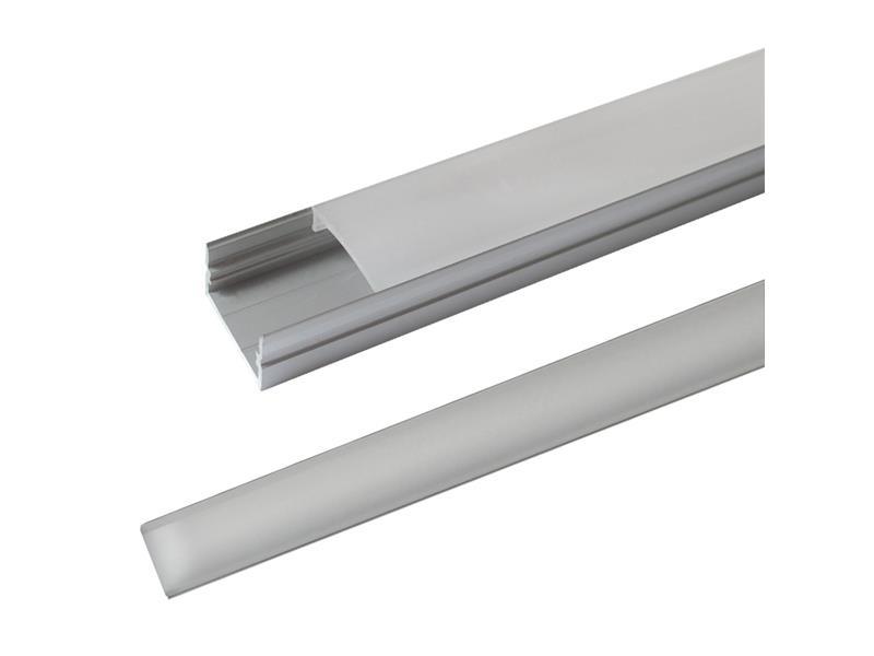Hliníkový profil AS3 pre viacero LED pasikov, povrchový, s difúzorom, 1m