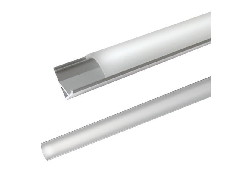 AL profil AC2 pre LED pásiky, rohový, s vypuklým difúzorom, 1m