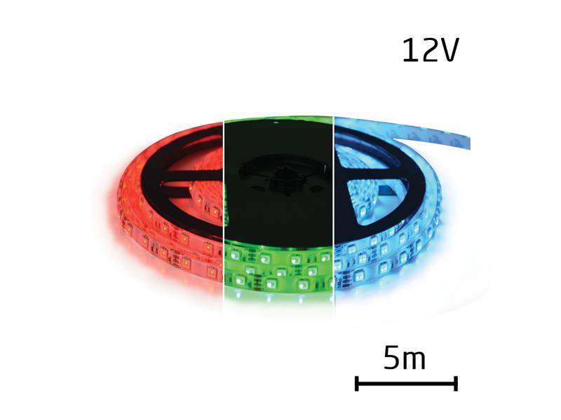 LED pásik 12V 5050 60LED/m IP20 max. 12W/m RGB (cievka 5m)