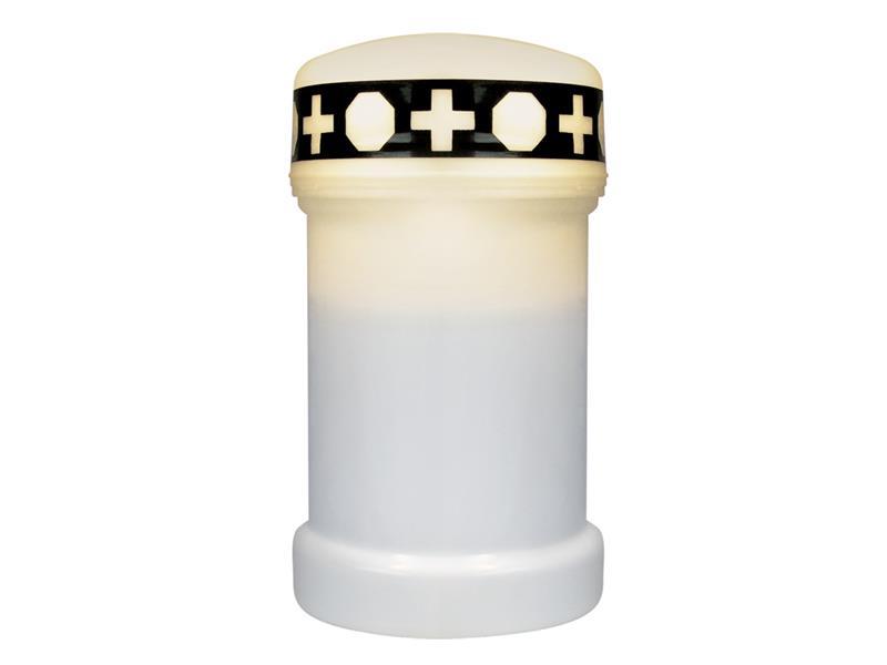 LED hřbitovní svíčka biela + baterie ZDARMA