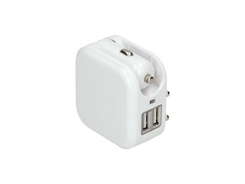 Adaptér SOLIGHT DC42 auto+zásuvka, 2x USB, max. 2400mA, AC 230V / DC 12V, bielý