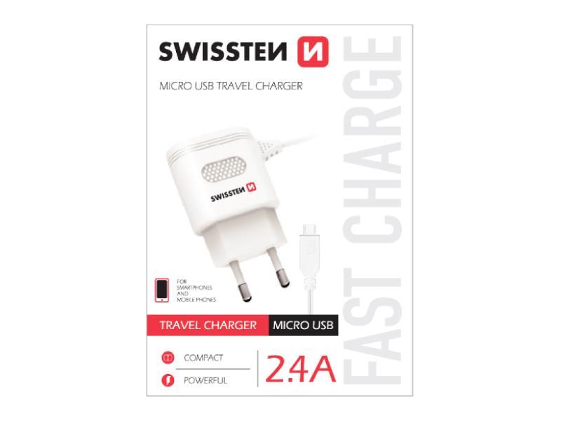 Nabíjačka SWISSTEN micro USB 2,4A biela