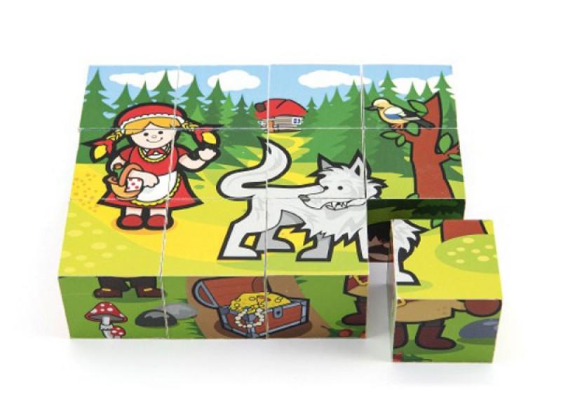 Detské kocky TEDDIES Moje prvé rozprávky drevené 12ks