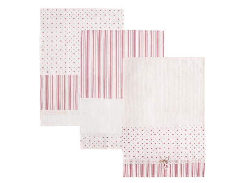 Utierka ORION Heart Gifty bavlna 3ks ružová