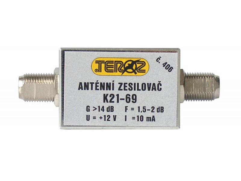 Anténny zosilňovač TEROZ 406X, nízkošumový, UHF, G14dB, F1,5dB, U98dBμV, F-F