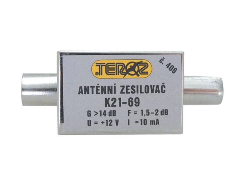 Antenný zosilňovač nízkošumový DVB-T 14dB IEC Teroz 406K