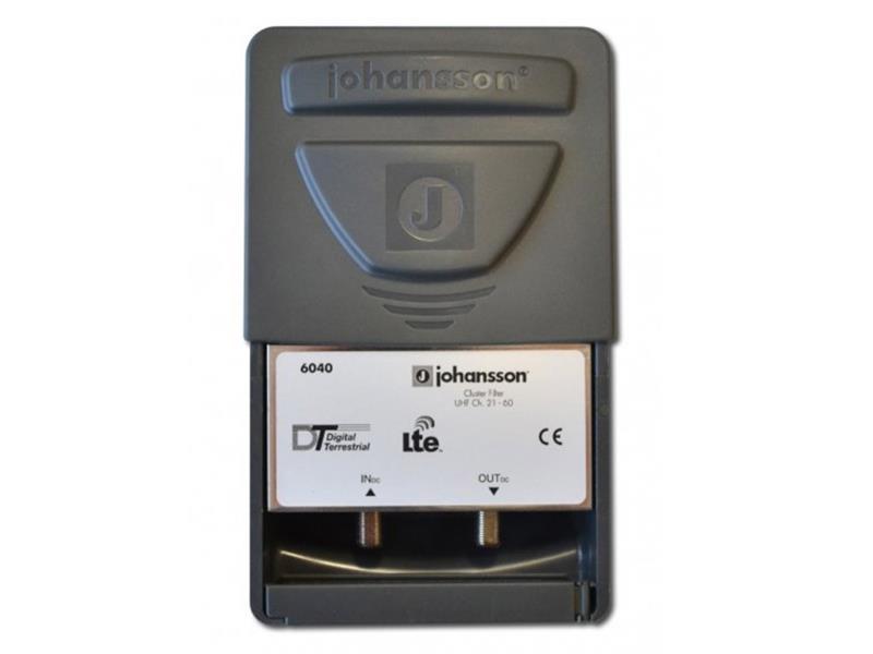 Anténny filter Johansson 6040C48, na stožiar, filter 5G, LTE, pásm.priepust 470 až 694MHz +DC